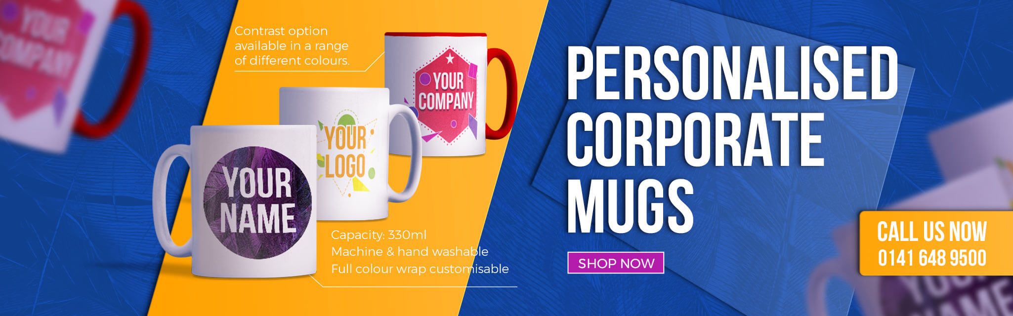 Personalised mugs for your company team.