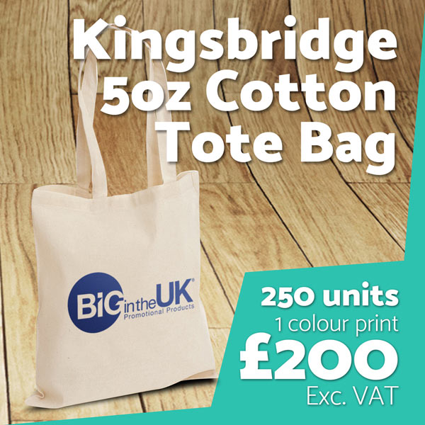 Branded Kingsbridge 5oz Cotton Tote Bag