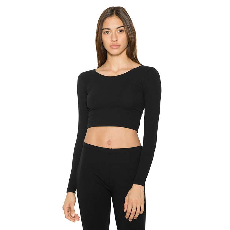 Long Sleeve Cotton Spandex Jersey Crop Top (8379)